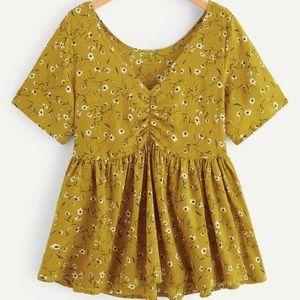 Plus Yellow Floral Top Ruffle Hem Top